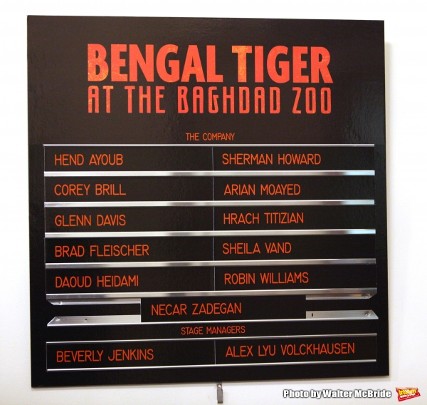 Lobby Cast Board at the Broadway Opening Night Curtain Call for ''Bengal Tiger at the Baghdad Zoo'' at the Richard Rodgers Theatre in New York City