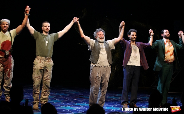 Glenn Davis, Brad Fleischer, Robin Willams, Arian Moayed & Hrach Titizian during the Broadway Opening Night Curtain Call for ''Bengal Tiger at the Baghdad Zoo'' at the Richard Rodgers Theatre in New York City