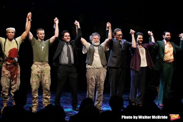 Glenn Davis, Brad Fleischer, playwright Rajiv Joseph, Robin Willams, director Moises Kaufman, Arian Moayed & Hrach Titizian during the Broadway Opening Night Curtain Call for ''Bengal Tiger at the Baghdad Zoo'' at the Richard Rodgers Theatre in New York C