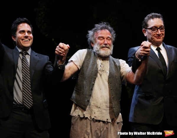 Robin Willams with playwright Rajiv Joseph & director Moises Kaufman during the Broadway Opening Night Curtain Call for ''Bengal Tiger at the Baghdad Zoo'' at the Richard Rodgers Theatre in New York City
