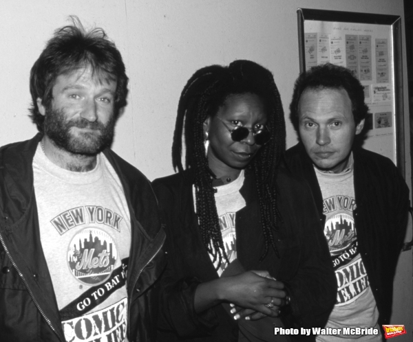 Robin Williams, Whoopi Goldberg with Billy Crystal on May 1, 1990 in New York City.