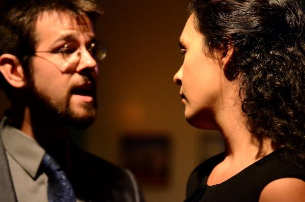 Dillon Medina as Brutus and Sarah Leach as Portia