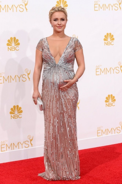 66th ANNUAL PRIMETIME EMMY AWARDS -- Pictured: Actress Hayden Panettiere arrives to the 66th Annual Primetime Emmy Awards held at the Nokia Theater on August 25, 2014 -- (Photo by: Kevork Djansezian/NBC)