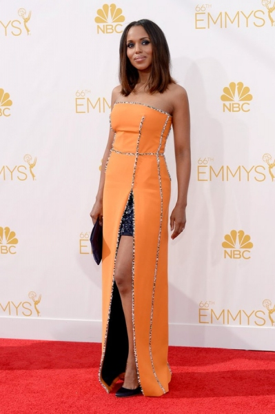 66th ANNUAL PRIMETIME EMMY AWARDS -- Pictured: Actress Kerry Washington arrives to the 66th Annual Primetime Emmy Awards held at the Nokia Theater on August 25, 2014 -- (Photo by: Kevork Djansezian/NBC)