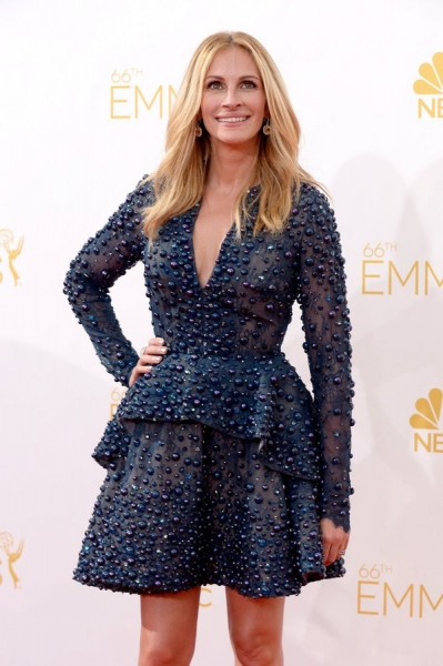 66th ANNUAL PRIMETIME EMMY AWARDS -- Pictured: Actress Julia Roberts arrives to the 66th Annual Primetime Emmy Awards held at the Nokia Theater on August 25, 2014 -- (Photo by: Kevork Djansezian/NBC)