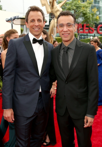 66th ANNUAL PRIMETIME EMMY AWARDS -- Pictured: (l-r) Host Seth Meyers and actor Fred Armisen arrive to the 66th Annual Primetime Emmy Awards held at the Nokia Theater on August 25, 2014 --  (Photo by: Christopher Polk/NBC)