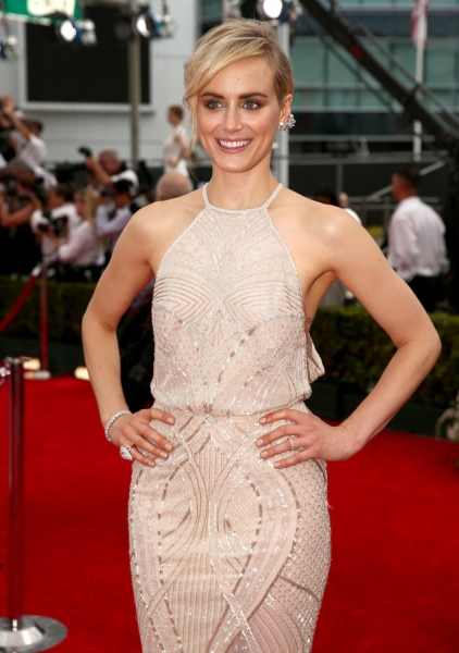 66th ANNUAL PRIMETIME EMMY AWARDS -- Pictured: Actress Taylor Schilling arrives to the 66th Annual Primetime Emmy Awards held at the Nokia Theater on August 25, 2014 -- (Photo by: Christopher Polk/NBC)