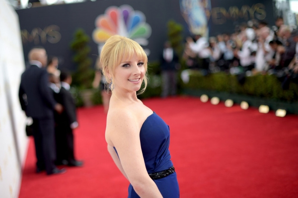 66th ANNUAL PRIMETIME EMMY AWARDS -- Pictured: TV personality Melissa Rauch arrives to the 66th Annual Primetime Emmy Awards held at the Nokia Theater on August 25, 2014--  (Photo by: Jason Kempin/NBC)