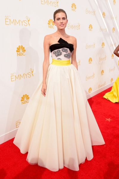 66th ANNUAL PRIMETIME EMMY AWARDS -- Pictured: Actress Allison Williams arrives to the 66th Annual Primetime Emmy Awards held at the Nokia Theater on August 25, 2014 -- (Photo by: Jason Kempin/NBC)