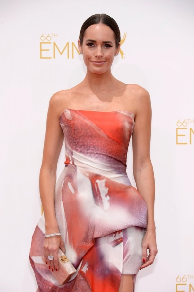 66th ANNUAL PRIMETIME EMMY AWARDS -- Pictured:  Actress Louise Roe arrives to the 66th Annual Primetime Emmy Awards held at the Nokia Theater on August 25, 2014 -- (Photo by: Kevork Djansezian/NBC)