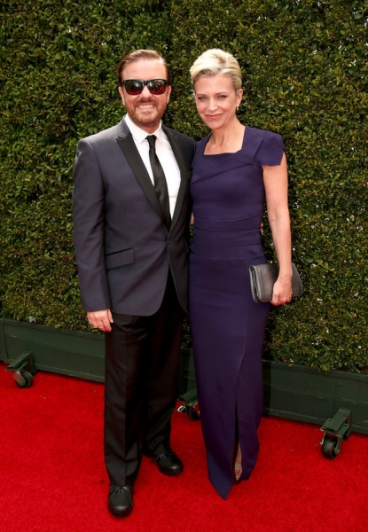 66th ANNUAL PRIMETIME EMMY AWARDS -- Pictured: (l-r) Actor/comedian Ricky Gervais and writer Jane Fallon arrive to the 66th Annual Primetime Emmy Awards held at the Nokia Theater on August 25, 2014 --  (Photo by: Christopher Polk/NBC)