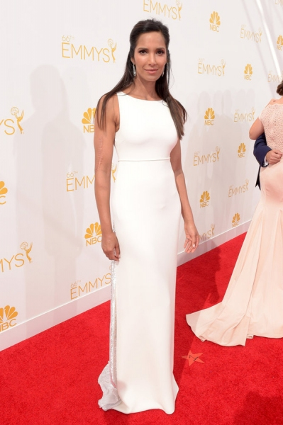 66th ANNUAL PRIMETIME EMMY AWARDS -- Pictured: Actress Padma Lakshmi arrives to the 66th Annual Primetime Emmy Awards held at the Nokia Theater on August 25, 2014 -- (Photo by: Jason Kempin/NBC)