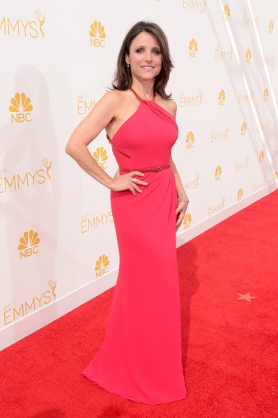 66th ANNUAL PRIMETIME EMMY AWARDS -- Pictured:  Actress Julia Louis-Dreyfus arrives to the 66th Annual Primetime Emmy Awards held at the Nokia Theater on August 25, 2014 -- (Photo by: Jason Kempin/NBC)