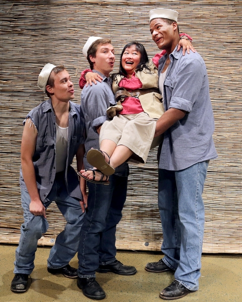 Eric Deutz as Luther Billis, Eric Sharp, Patricia Uy-Westlund as Bloody Mary, and DeMarco Moore