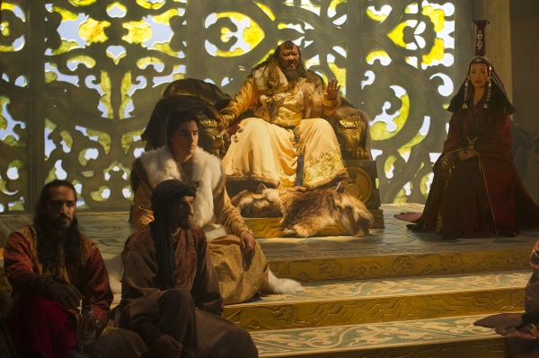 (L-R) Mahesh Jadu, Amr Waked, Remy Hii, Benedict Wong and Joan Chen in a scene from Netflix''s ''Marco Polo.'' Photo Credit: Phil Bray for Netflix.