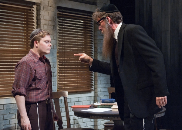 (Alex Weisman, left) faces the disapproval of his father (Lawrence Grimm)