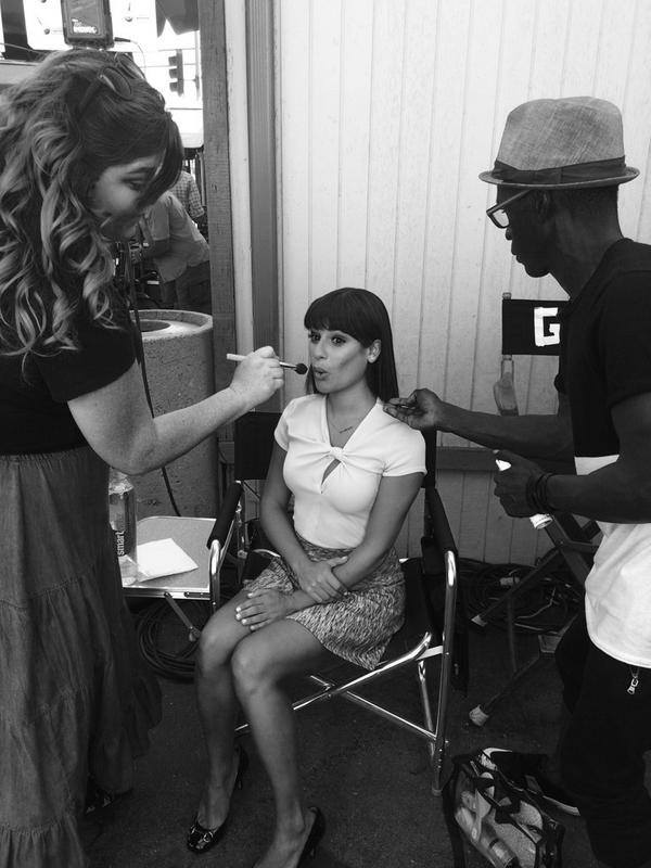 First Look At Lea Michele On Set For Final Season Of GLEE