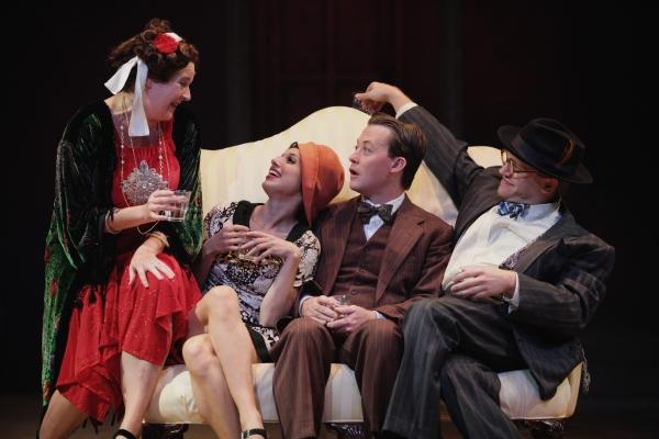 Miranda McGee as Myrtle Wilson, Caitlin McWethy as Mrs. McKee, Justin McCombs as Nick Carraway, and Josh Katawick as Mr. McKee