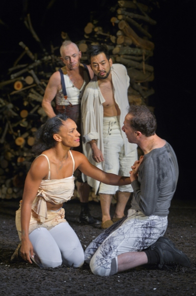 (clockwise from left) Tristan Cunningham as Hermia, Danny Scheie as Puck, Daisuke Tsuji as Oberon, and Nicholas Pelczar as Demetrius