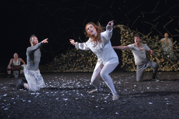 Danny Scheie as Puck, Nicholas Pelczar as Demetrius, Lauren English as Helena, Dan Clegg as Lysander, and Daisuke Tsuji as Oberon