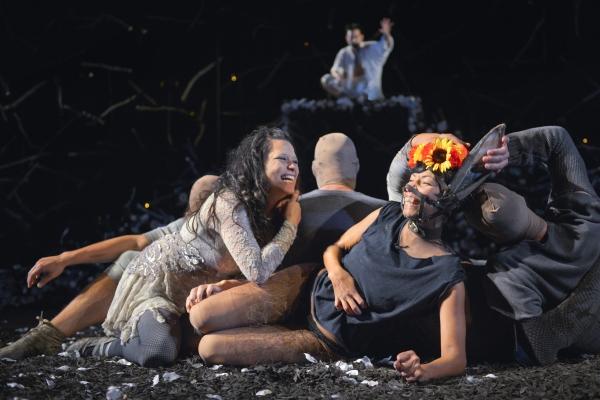 Erika Chong Shuch as Titania and Margo Hall as Bottom and (rear) Daisuke Tsuji as Oberon