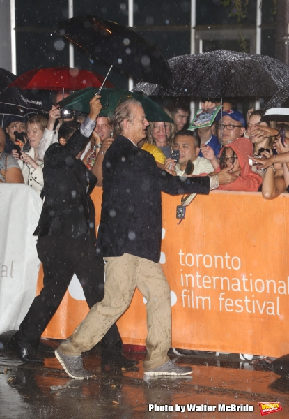 Bill Murray meets fans in the rain