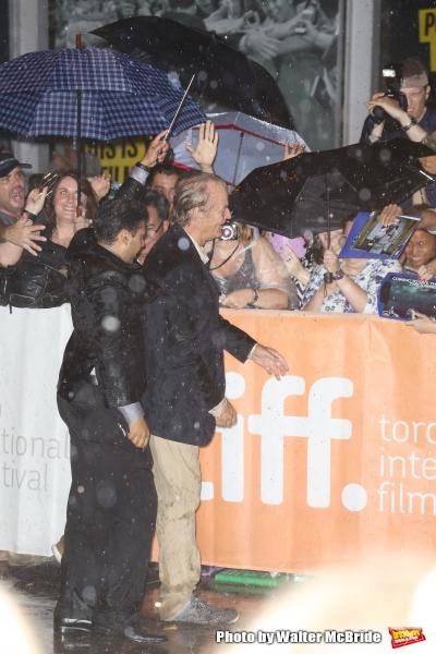 Bill Murray meets fans in the rain