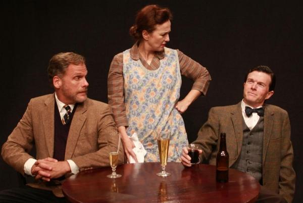 George Bourne (Joe Kirkendall), Nora Shattock (Celeste Roberts), and Chorley Bannister (Joel Sandel)