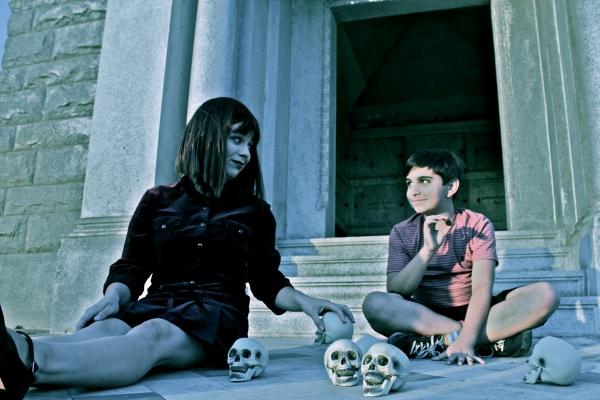 Tosca Maltzman as Wednesday Addams and Jonah Rotenberg as Puglsey Addams Photo