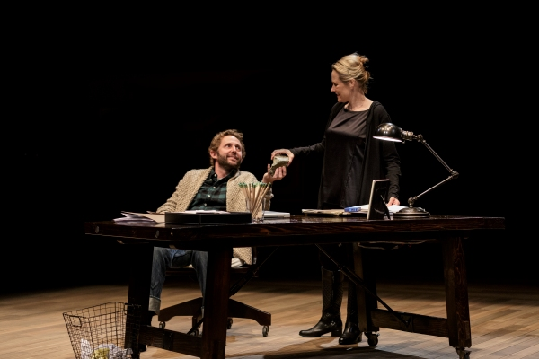"""Todd Weeks as â€Å""""Danielâ€Â� and Kate Blumberg as Miriam in Katie Sapper as Crystal"""