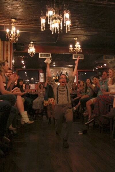 Josh Sauerman, triumphant as Waffles