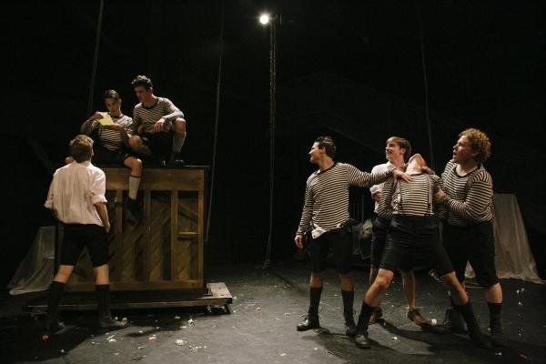 Daniel David Stewart (back to camera), Joseph Haro, Joshua Castille, Miles Barbee, Se Photo