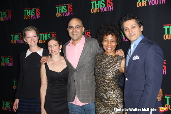 Gretchen Mol, Kimberly Senior, Ayad Akhtar, Karen Pittman and Hari Dhillon from the play '' Disgraced''