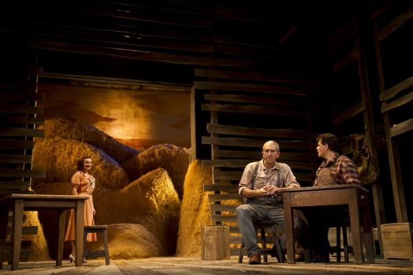 Erin Krom as Curley's wife, Jarrod DiGiorgi as George, and Leandro Cano as Lennie