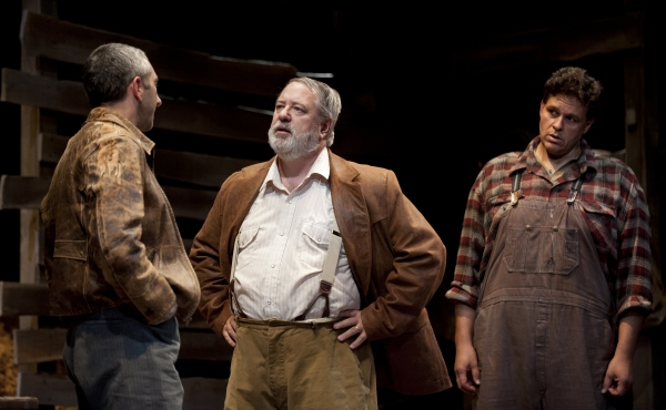 Jarrod DiGiorgi as George, Philip Winters as The Boss, and Leandro Cano as Lennie