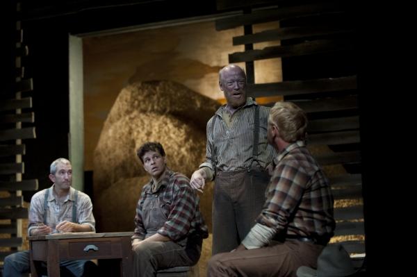 Jarrod DiGiorgi as George, Leandro Cano as Lennie, Weston Blakesley as Carlson, David Whalen as Slim