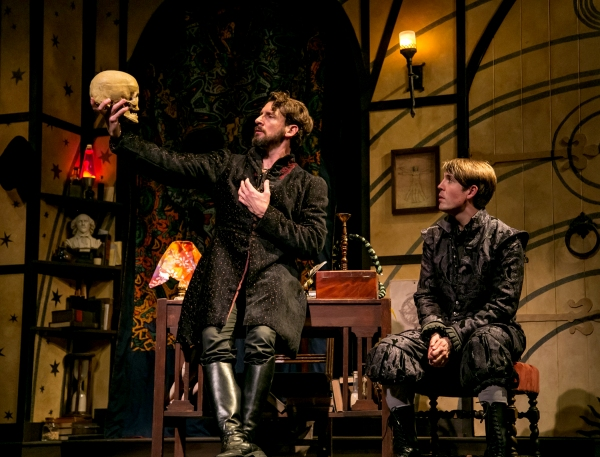 Professor John Faustus (Anthony Marble) debates fate and fate with his pupil, Hamlet  Photo