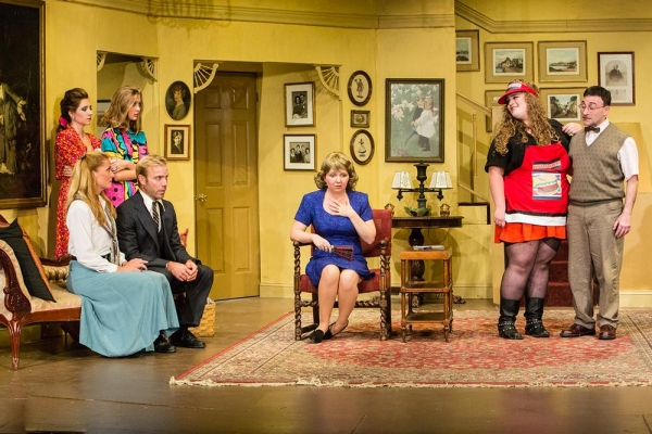 Kimberly Marcus as Pauline (seated), James Hipp (seated), Erin Shaughnessy & Phair Haldin (standing), Jackie Decho Holm, Josephine Harding as Irene Ratliff, and Brian Feinberg as Lewis.