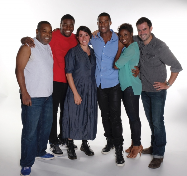 Director Rachel Chavkin (center) with the cast of The Royale: Ray Anthony Thomas, Okieriete Onaodowan, Robert Christopher Riley, Montego Glover, and John Lavelle