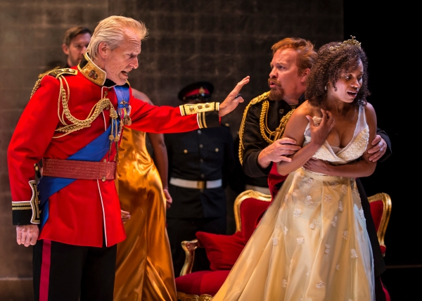Lear (Larry Yando) disinherits his youngest daughter Cordelia (Nehassaiu deGannes) while the astonished Duke of Kent (Kevin Gudahl) rushes to her aide
