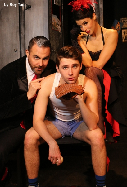 Alex Lodge as Joe Hardy with Jonathan D Ellis and Poppy Tierney
