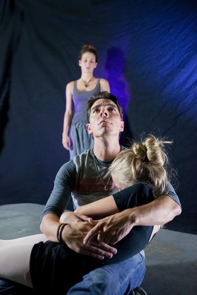 (Foreground) Joseph Garlock and Cara Spradling, (Background) Amelia Turner in STILL NOW.  Photo by Maureen Martinez.