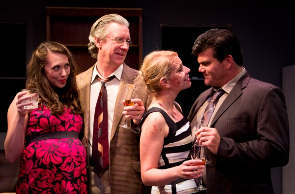 Jess Hughes, Huck Huckaby, Molly Karrasch, and Brian Coughlin in TIME STANDS STILL.  Photo by Christopher Loveless.