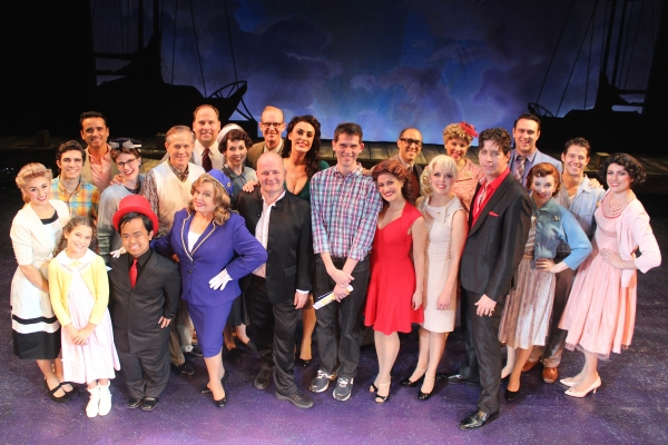 Author and lyricist of the musical comedy The Witches of Eastwick, John Dempsey, joined the cast backstage after taking in the evening performance at the Ogunquit Playhouse last night, September 18. Mr. Dempsey is pictured center front with stars Sara Get