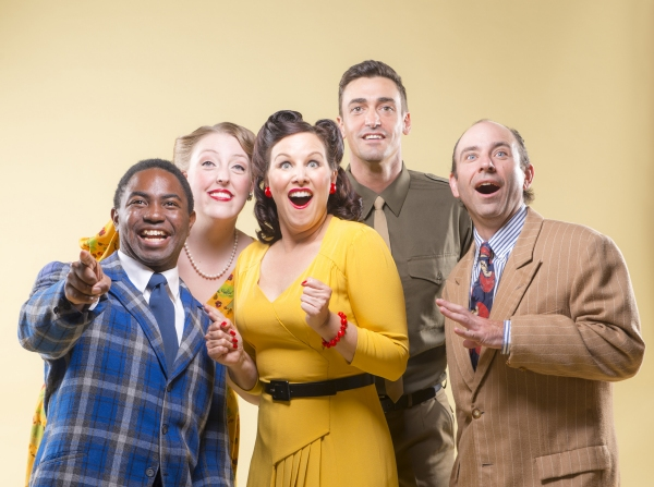AeJay Mitchell, Heather Orth, Dyan McBride, Tyler McKenna, and Brian Herndon sing ''There''s a Happy Land in the Sky''