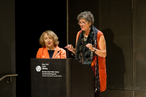 LPTW Presidents Maxine Kern and Pamela Hunt welcome guests, League of Professional Theatre Women (LPTW) members and introduce the event's producer, Betty Corwin.