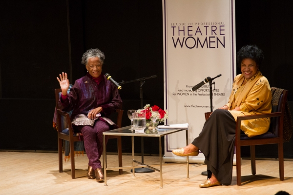 Billie Allen and Phylicia Rashad enter to a standing ovation and take their places on Photo