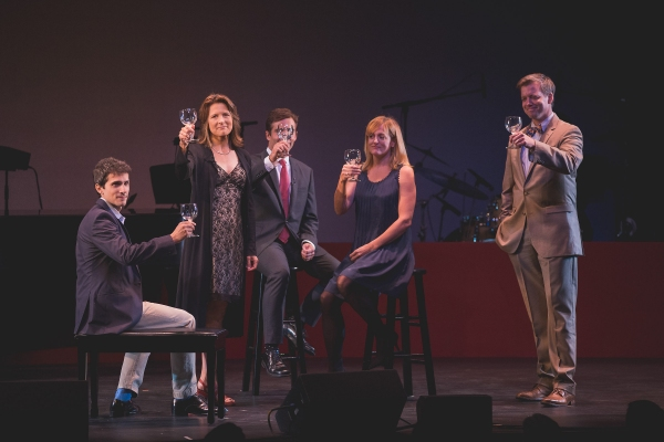 Charles Socarides, Jennifer Van Dyck, Jake Robards, Keira Naughton, and Chris Henry Coffey perform a scene from Westport Country Playhouse's 2013 production of ''The Dining Room'' by A. R. Gurney.