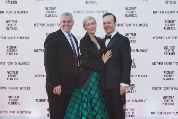 Michael Ross, Westport Country Playhouse Managing Director; actress Susan Lyons, and husband Jefferson Mays, currently starring in Broadway's ''A Gentleman's Guide to Love and Murder.''