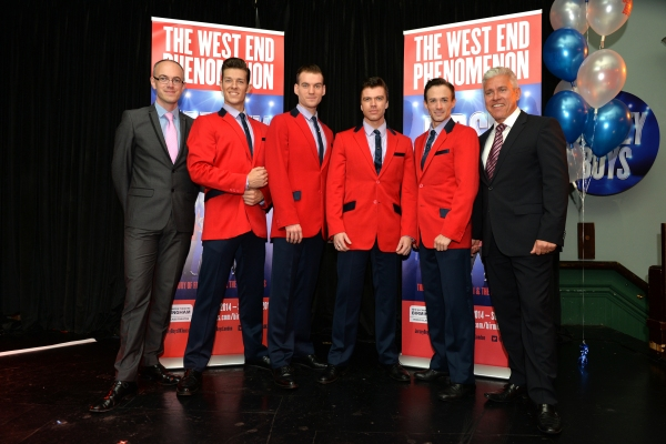 Andrew Lister (General Manager at the New Alexandra Theatre), Lewis Griffiths (cast member), Sam Ferriday (cast member), Stephen Webb (cast member), Tim Driesen (cast member) and David Ian (producer)
